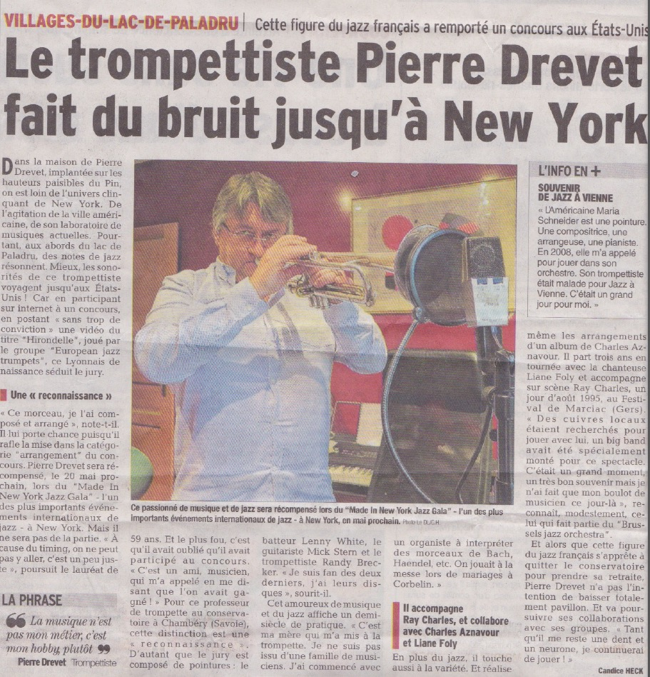Pierre Drevet - Hirondelle - European Jazz Trumpets - Dauphiné Libéré 2017