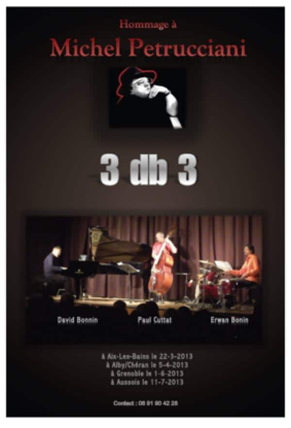 david bonnin trio, affiche concerts hommage à Michel Petrucciani