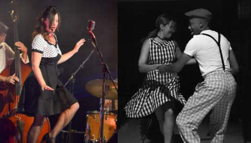 Swingy Bang Band avec ses danseurs, Delphine Hocquet au chant, David Bonnin au piano, en concert Bal Jazz à Poisy